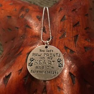 You left paw prints on my heart silver necklace